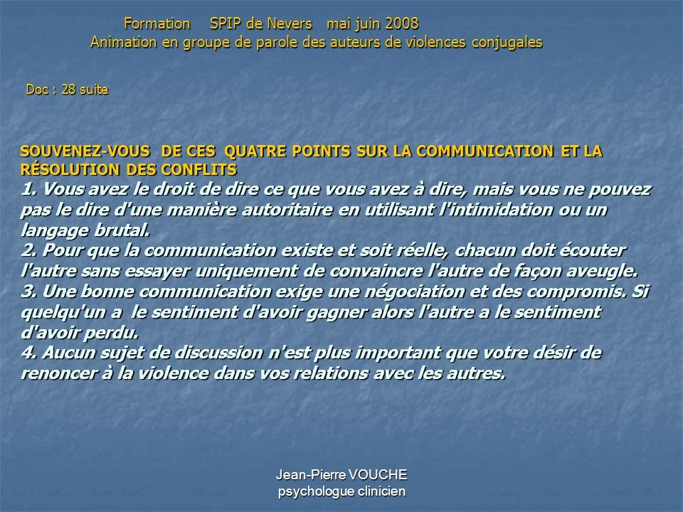 Jean-Pierre VOUCHE psychologue clinicien SOUVENEZ-VOUS DE CES QUATRE POINTS SUR LA COMMUNICATION ET LA RÉSOLUTION DES CONFLITS 1. Vous avez le droit d