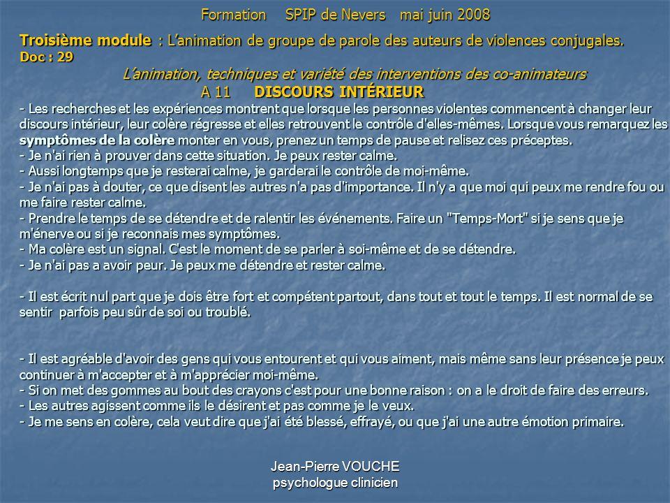 Jean-Pierre VOUCHE psychologue clinicien Troisième module : Lanimation de groupe de parole des auteurs de violences conjugales. Doc : 29 Lanimation, t