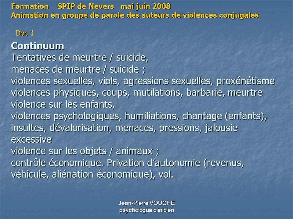 Jean-Pierre VOUCHE psychologue clinicien Continuum Tentatives de meurtre / suicide, menaces de meurtre / suicide ; violences sexuelles, viols, agressi