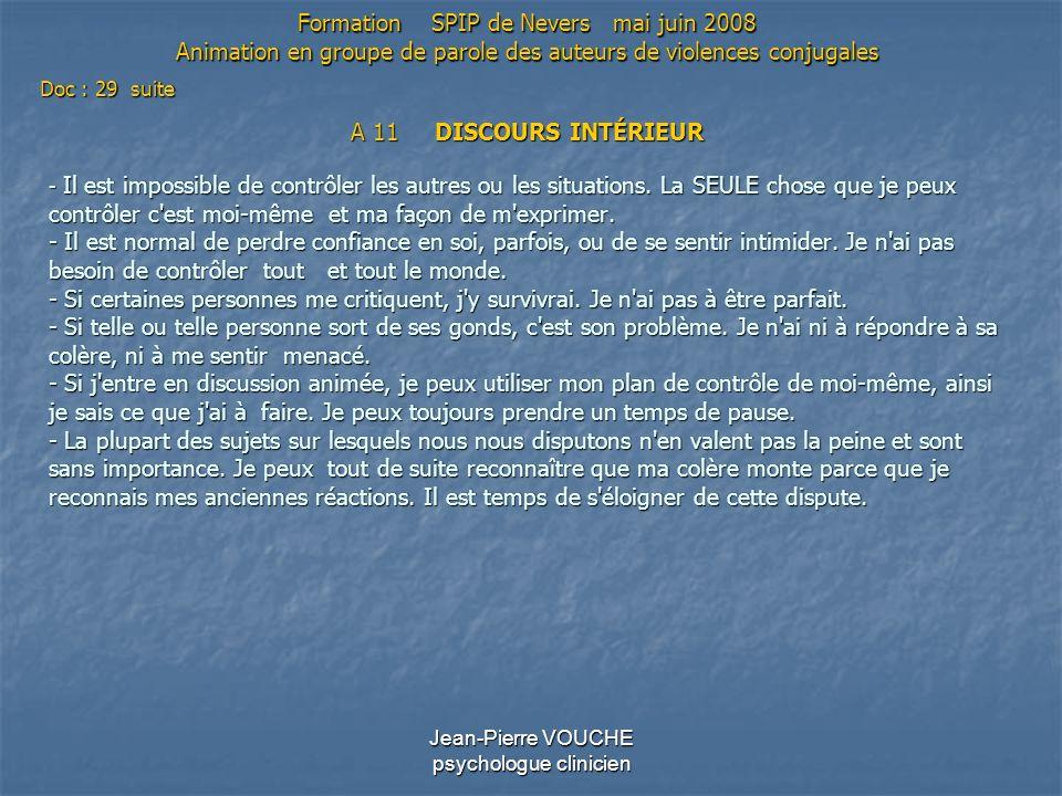 Jean-Pierre VOUCHE psychologue clinicien A 11 DISCOURS INTÉRIEUR - Il est impossible de contrôler les autres ou les situations. La SEULE chose que je