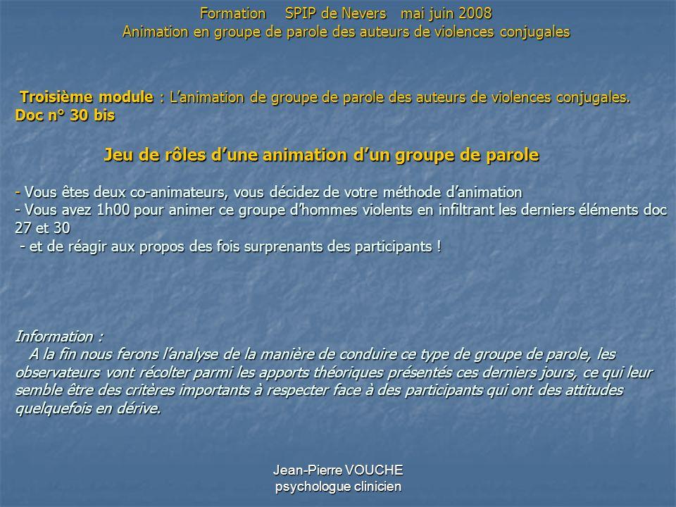 Jean-Pierre VOUCHE psychologue clinicien Troisième module : Lanimation de groupe de parole des auteurs de violences conjugales. Doc n° 30 bis Jeu de r
