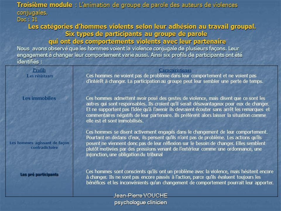 Jean-Pierre VOUCHE psychologue clinicien Troisième module : Lanimation de groupe de parole des auteurs de violences conjugales. Doc : 31 Les catégorie