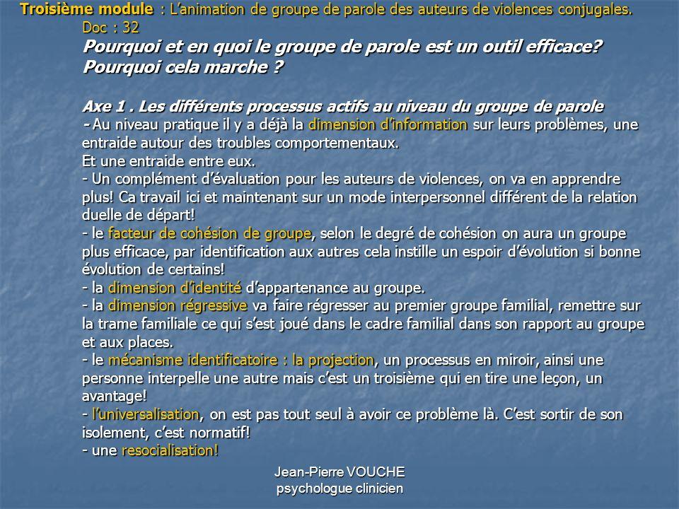 Jean-Pierre VOUCHE psychologue clinicien Troisième module : Lanimation de groupe de parole des auteurs de violences conjugales. Doc : 32 Pourquoi et e