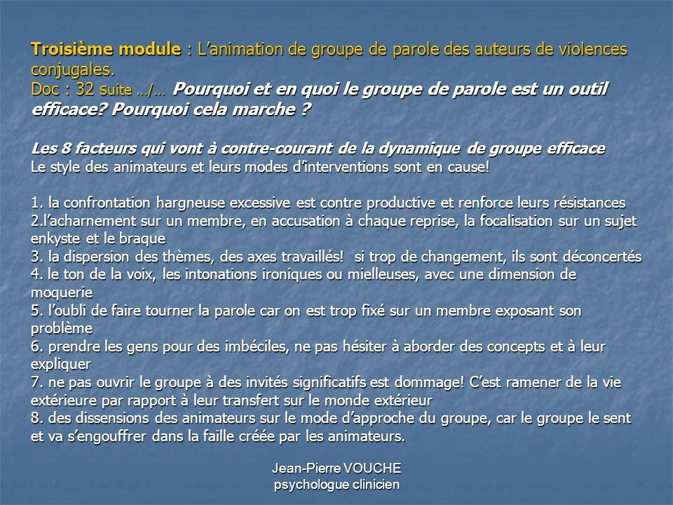 Jean-Pierre VOUCHE psychologue clinicien Troisième module : Lanimation de groupe de parole des auteurs de violences conjugales. Doc : 32 s uite …/… Po
