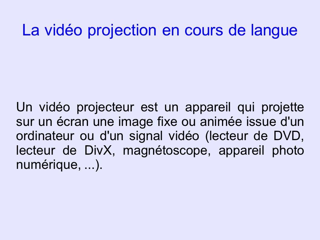 Intérêt de la vidéo projection La vidéo projection capte mieux l attention, l image est belle et de grande taille Le confort de visionnement est accru pour les élèves (et le professeur !) La focalisation de l attention de tous est presque garantie.