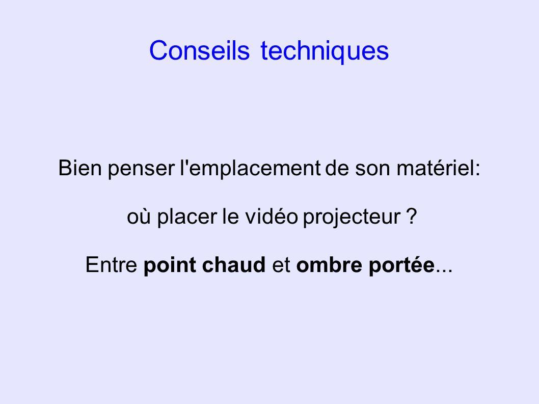 Conseils techniques Bien penser l'emplacement de son matériel: où placer le vidéo projecteur ? Entre point chaud et ombre portée...