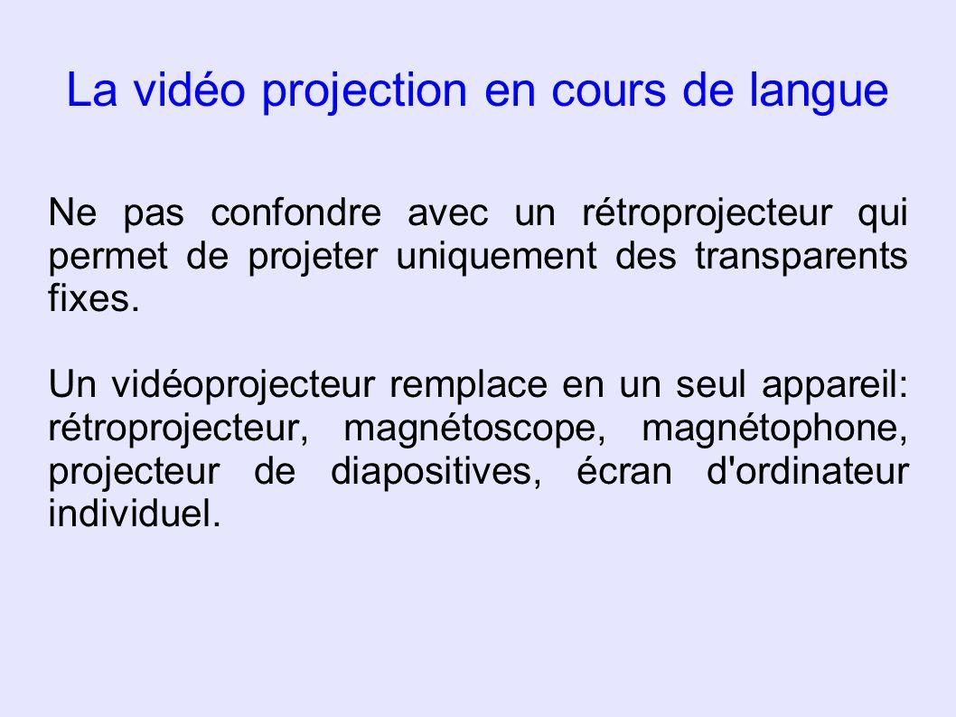 La vidéo projection en cours de langue Ne pas confondre avec un rétroprojecteur qui permet de projeter uniquement des transparents fixes. Un vidéoproj