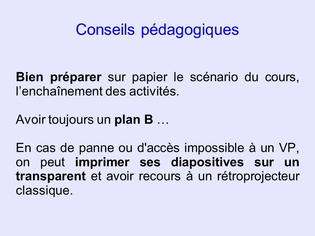 Conseils pédagogiques Bien préparer sur papier le scénario du cours, lenchaînement des activités. Avoir toujours un plan B … En cas de panne ou d'accè