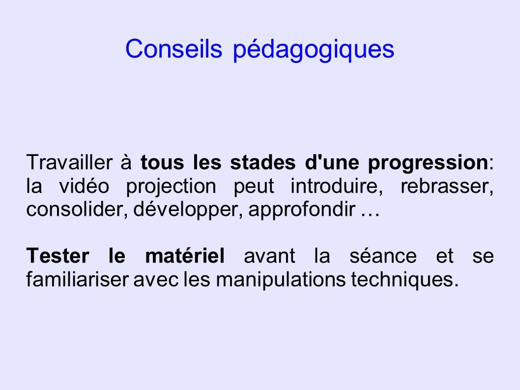 Conseils pédagogiques Travailler à tous les stades d'une progression: la vidéo projection peut introduire, rebrasser, consolider, développer, approfon