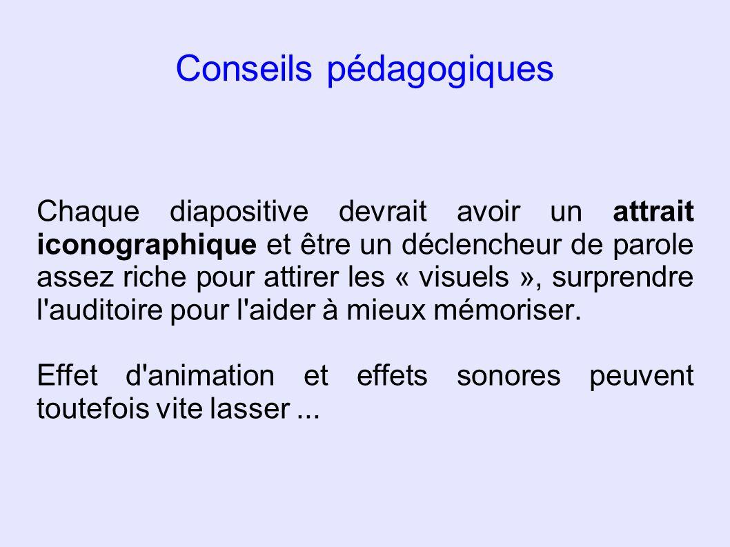 Conseils pédagogiques Chaque diapositive devrait avoir un attrait iconographique et être un déclencheur de parole assez riche pour attirer les « visue