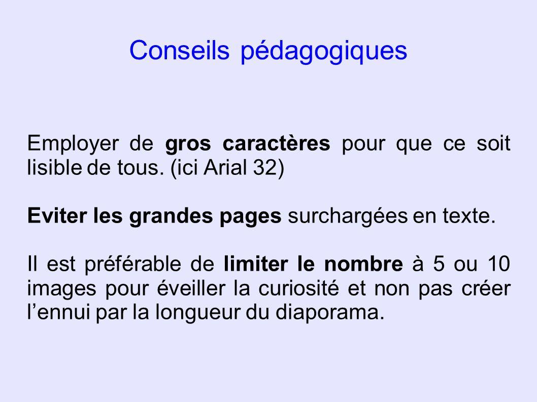 Conseils pédagogiques Employer de gros caractères pour que ce soit lisible de tous. (ici Arial 32) Eviter les grandes pages surchargées en texte. Il e