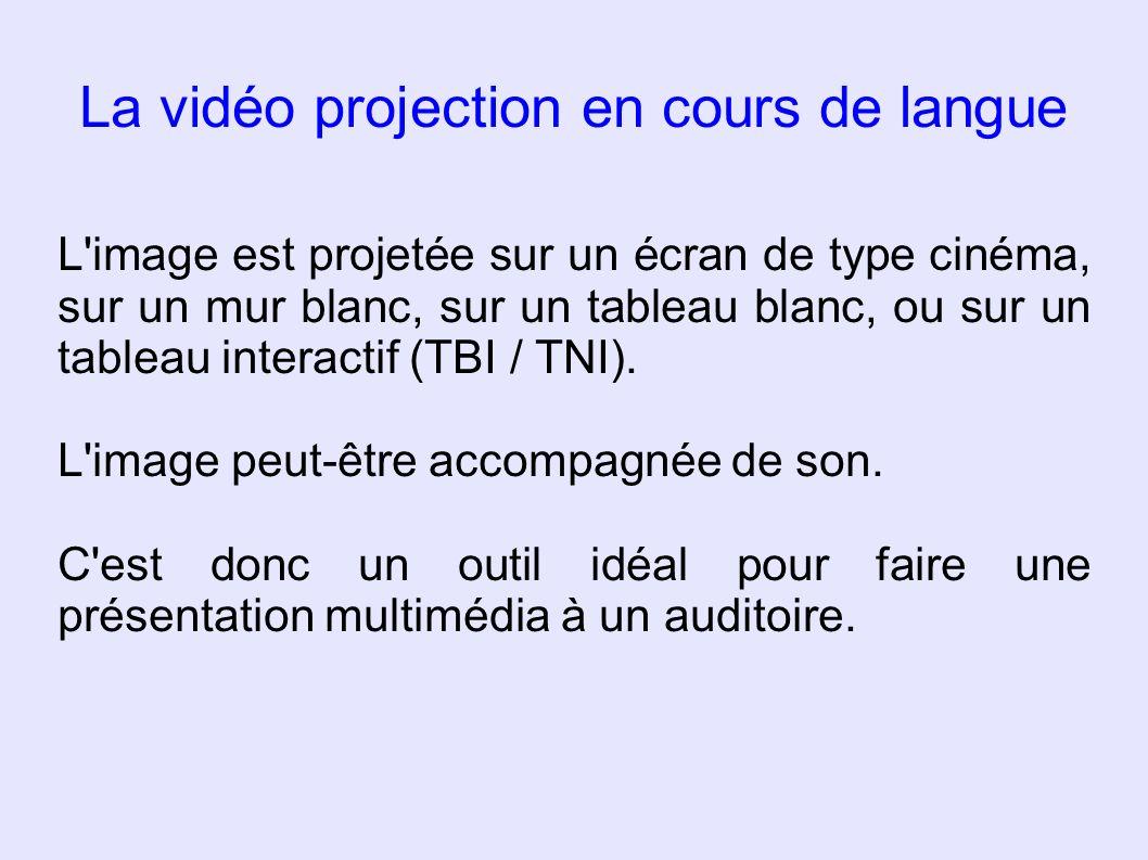 La vidéo projection en cours de langue L'image est projetée sur un écran de type cinéma, sur un mur blanc, sur un tableau blanc, ou sur un tableau int