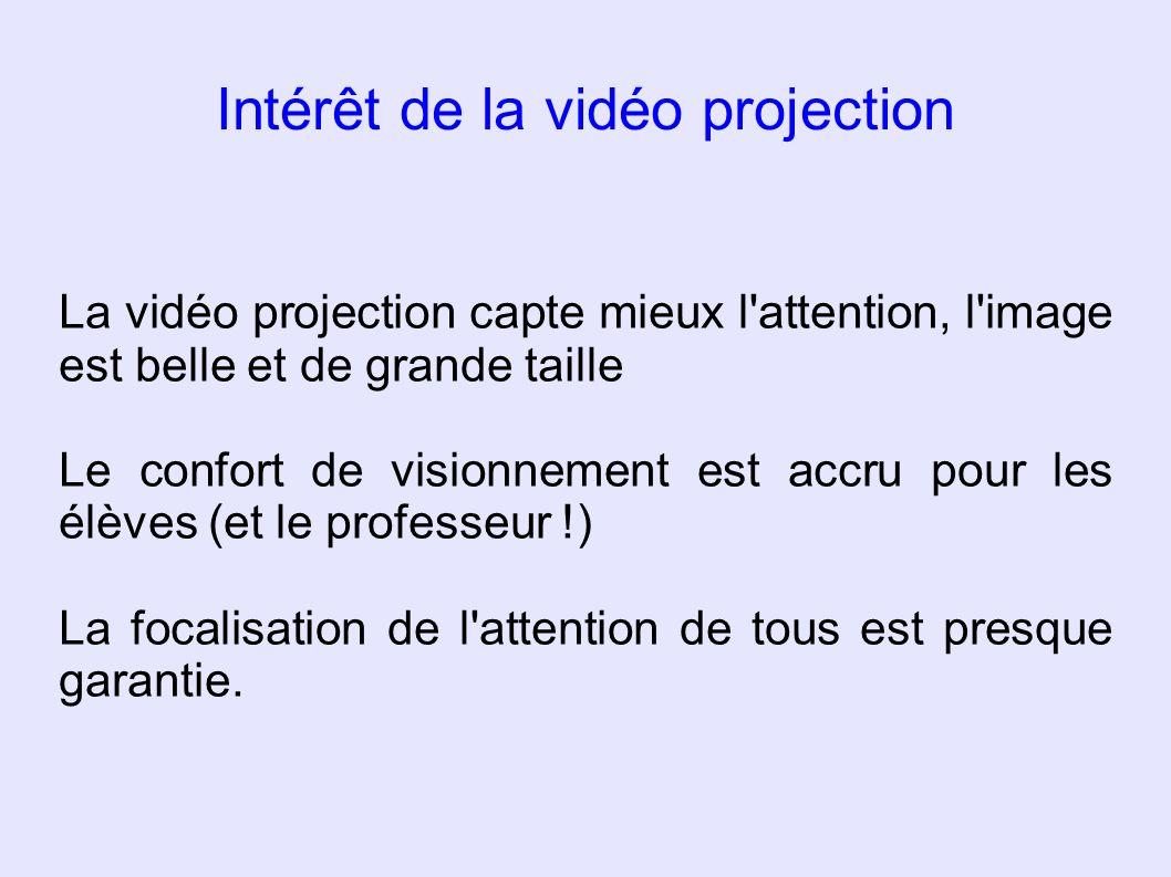 Intérêt de la vidéo projection La vidéo projection capte mieux l'attention, l'image est belle et de grande taille Le confort de visionnement est accru
