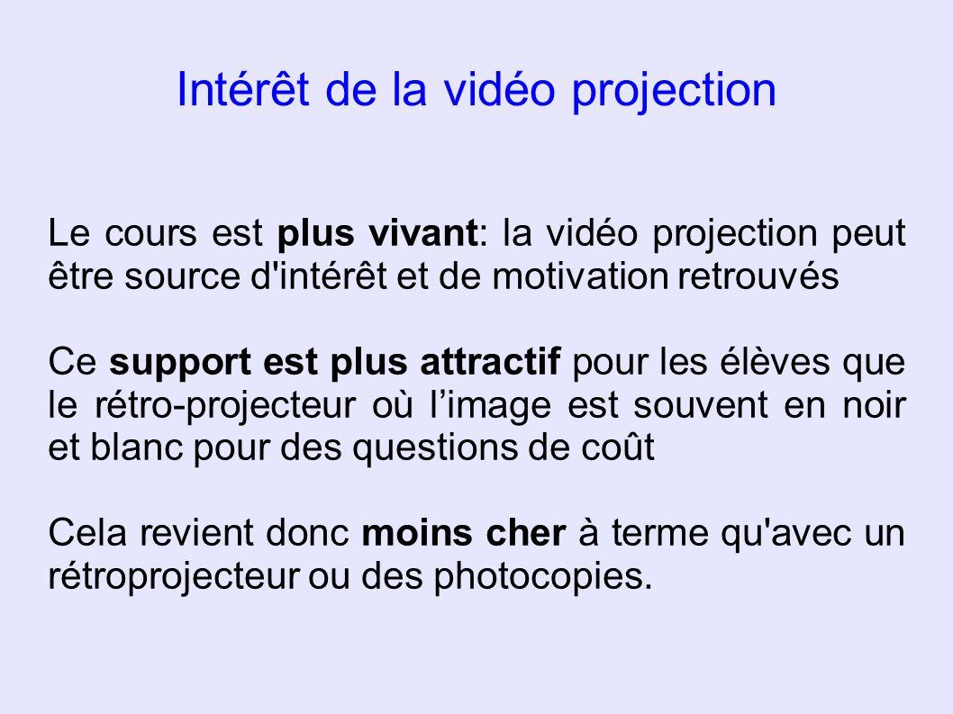 Intérêt de la vidéo projection Le cours est plus vivant: la vidéo projection peut être source d'intérêt et de motivation retrouvés Ce support est plus