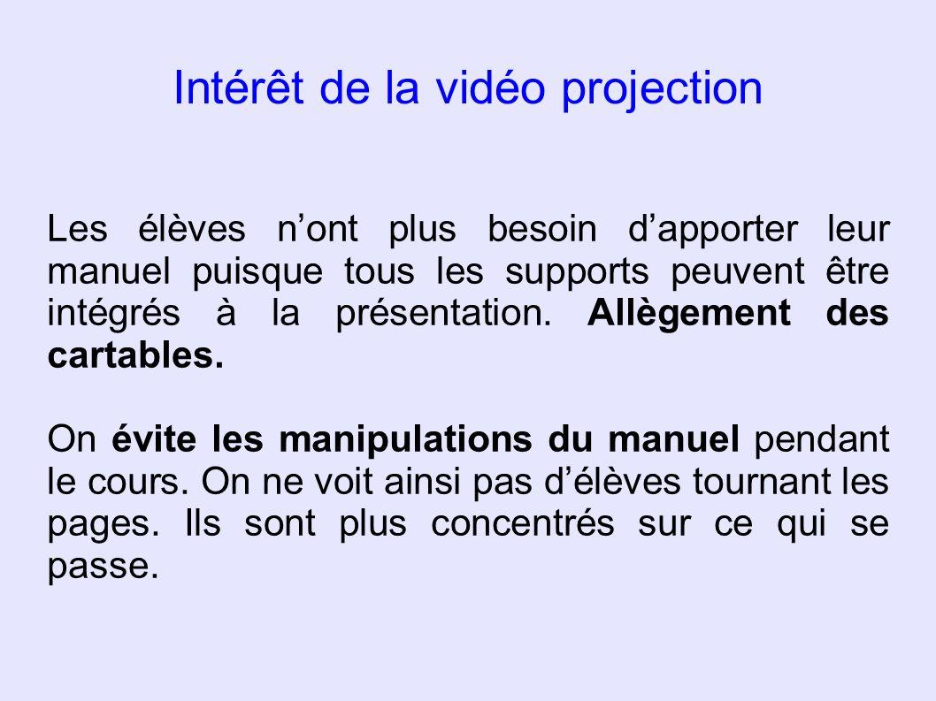 Intérêt de la vidéo projection Les élèves nont plus besoin dapporter leur manuel puisque tous les supports peuvent être intégrés à la présentation. Al