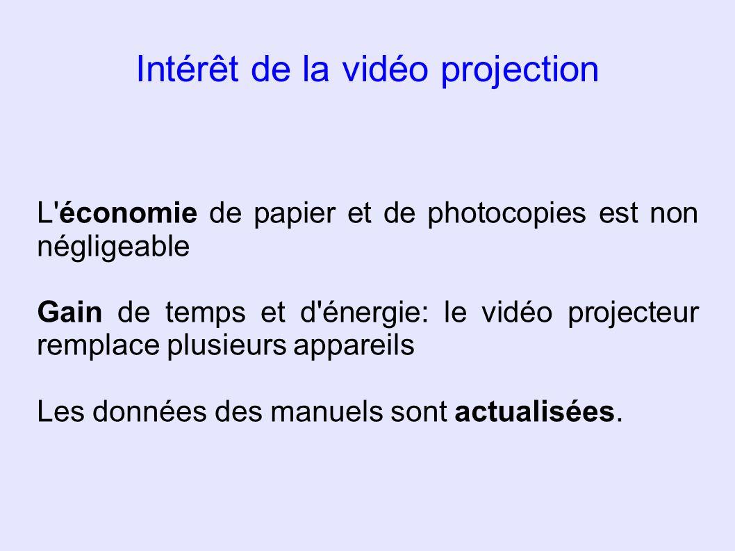Intérêt de la vidéo projection L'économie de papier et de photocopies est non négligeable Gain de temps et d'énergie: le vidéo projecteur remplace plu