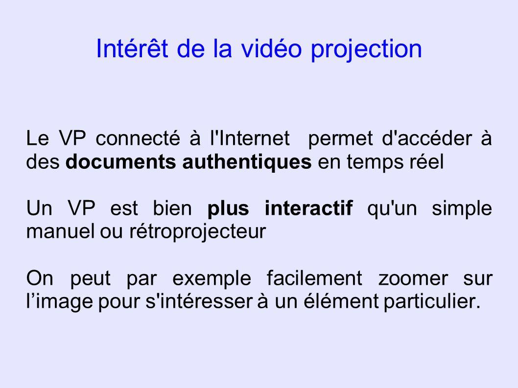 Intérêt de la vidéo projection Le VP connecté à l'Internet permet d'accéder à des documents authentiques en temps réel Un VP est bien plus interactif