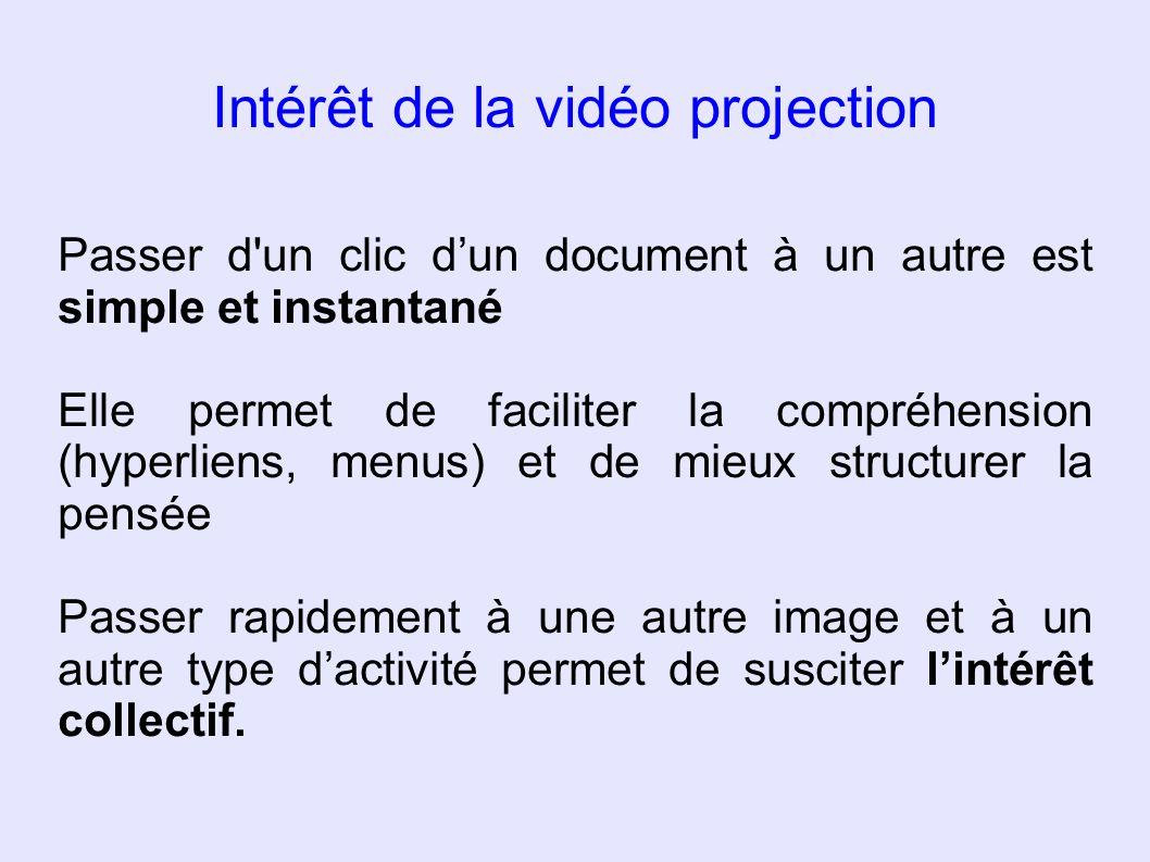 Intérêt de la vidéo projection Passer d'un clic dun document à un autre est simple et instantané Elle permet de faciliter la compréhension (hyperliens