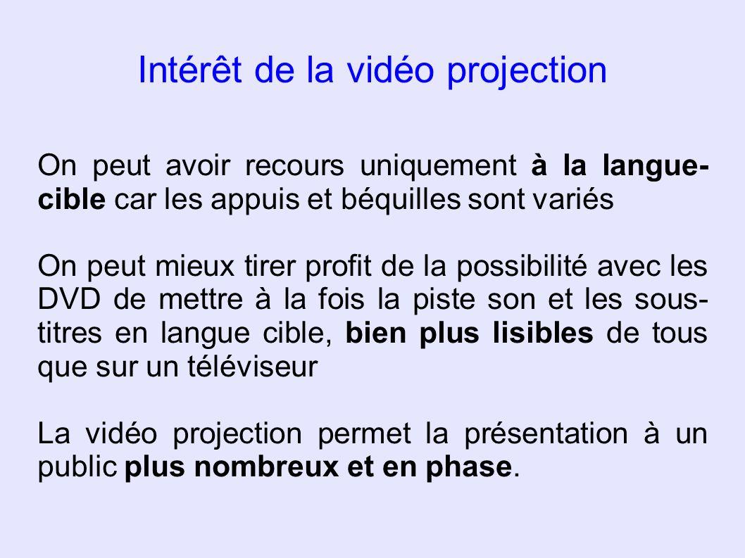 Intérêt de la vidéo projection On peut avoir recours uniquement à la langue- cible car les appuis et béquilles sont variés On peut mieux tirer profit