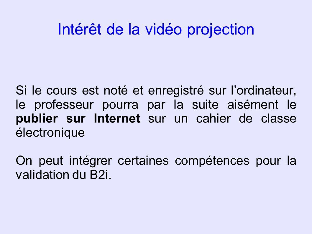 Intérêt de la vidéo projection Si le cours est noté et enregistré sur lordinateur, le professeur pourra par la suite aisément le publier sur Internet