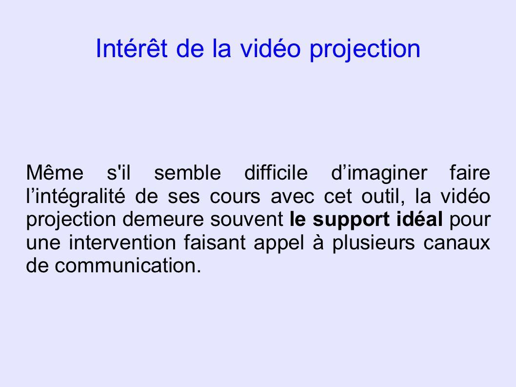 Intérêt de la vidéo projection Même s'il semble difficile dimaginer faire lintégralité de ses cours avec cet outil, la vidéo projection demeure souven