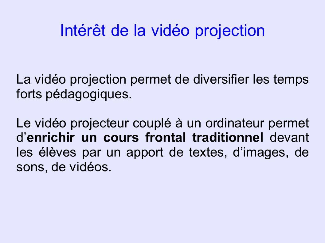 Intérêt de la vidéo projection La vidéo projection permet de diversifier les temps forts pédagogiques. Le vidéo projecteur couplé à un ordinateur perm