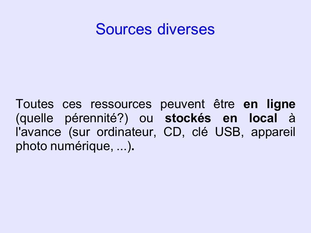 Sources diverses Toutes ces ressources peuvent être en ligne (quelle pérennité?) ou stockés en local à l'avance (sur ordinateur, CD, clé USB, appareil