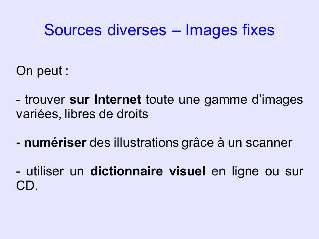 Sources diverses – Images fixes On peut : - trouver sur Internet toute une gamme dimages variées, libres de droits - numériser des illustrations grâce