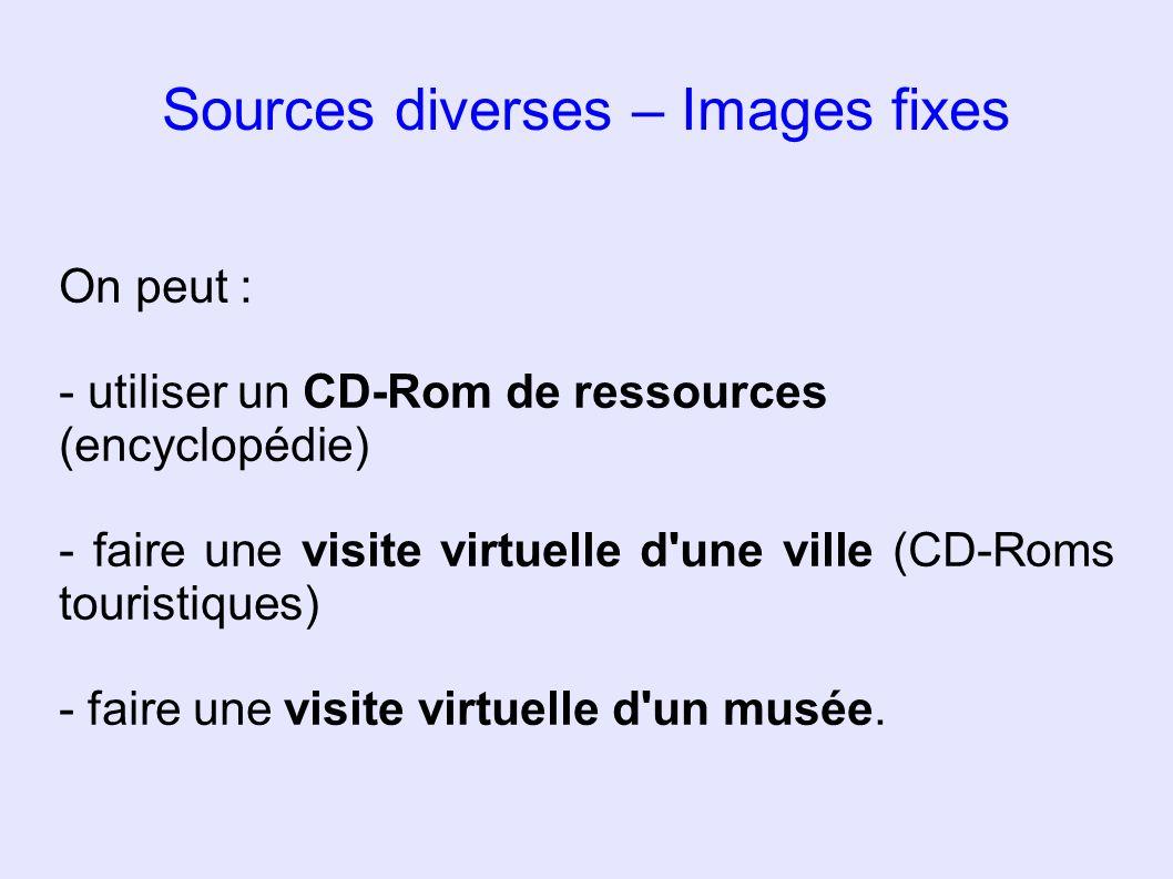 Sources diverses – Images fixes On peut : - utiliser un CD-Rom de ressources (encyclopédie) - faire une visite virtuelle d'une ville (CD-Roms touristi