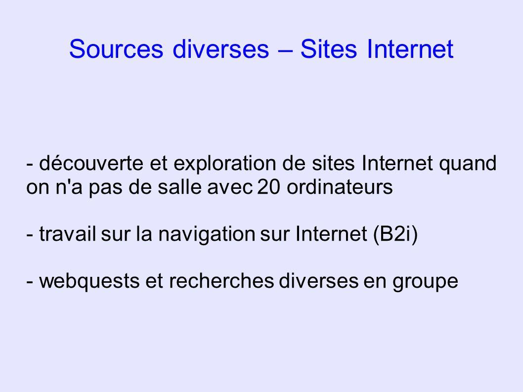 Sources diverses – Sites Internet - découverte et exploration de sites Internet quand on n'a pas de salle avec 20 ordinateurs - travail sur la navigat