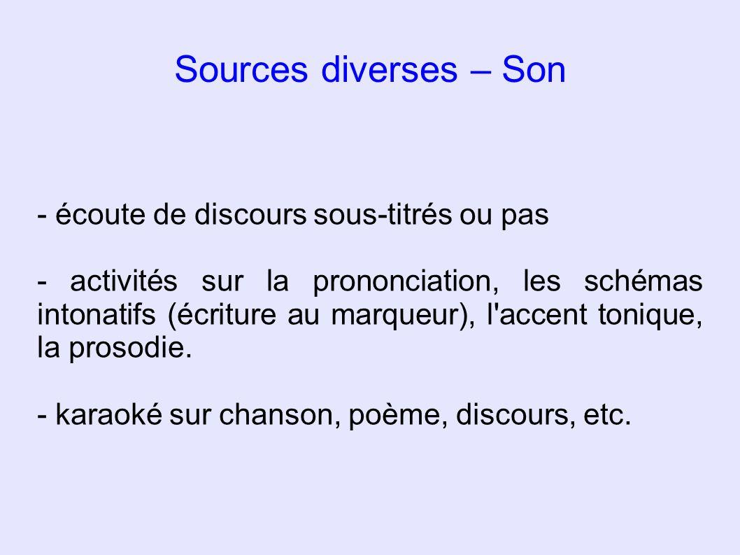 Sources diverses – Son - écoute de discours sous-titrés ou pas - activités sur la prononciation, les schémas intonatifs (écriture au marqueur), l'acce