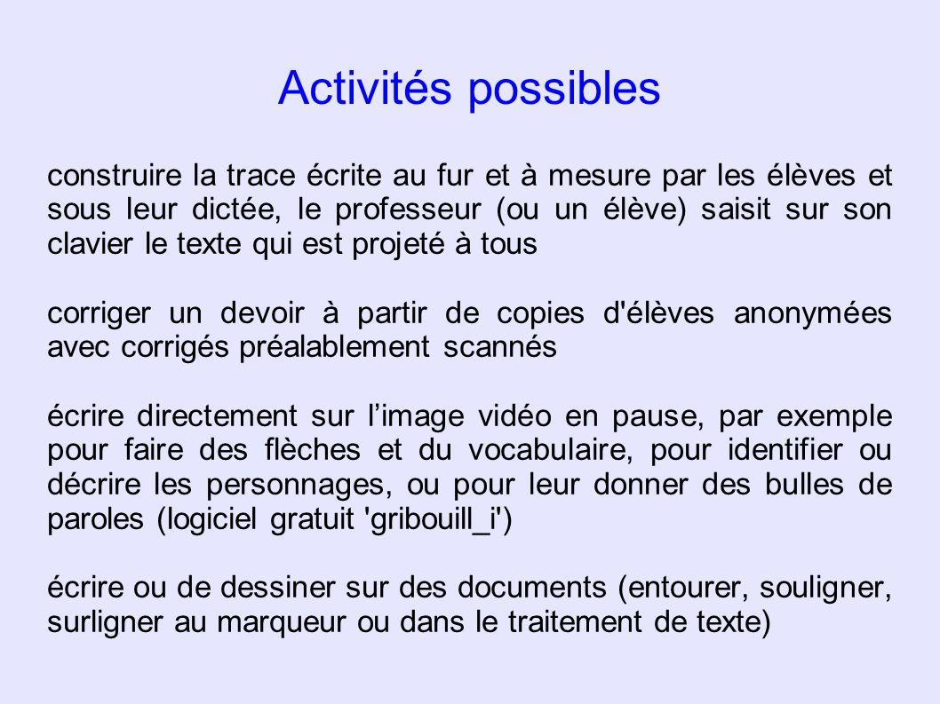 Activités possibles construire la trace écrite au fur et à mesure par les élèves et sous leur dictée, le professeur (ou un élève) saisit sur son clavi