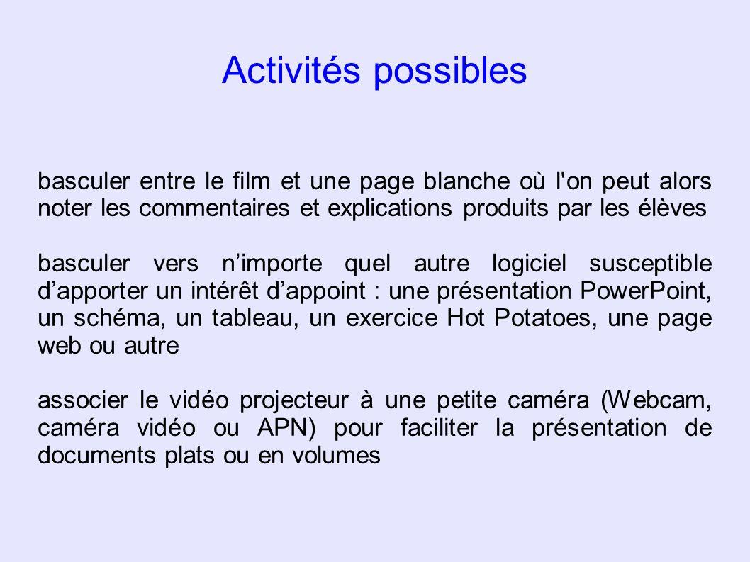 Activités possibles basculer entre le film et une page blanche où l'on peut alors noter les commentaires et explications produits par les élèves bascu