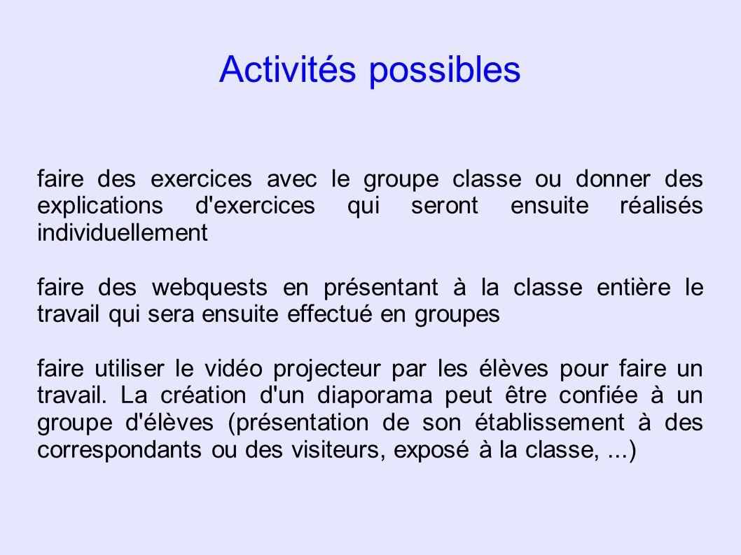 Activités possibles faire des exercices avec le groupe classe ou donner des explications d'exercices qui seront ensuite réalisés individuellement fair