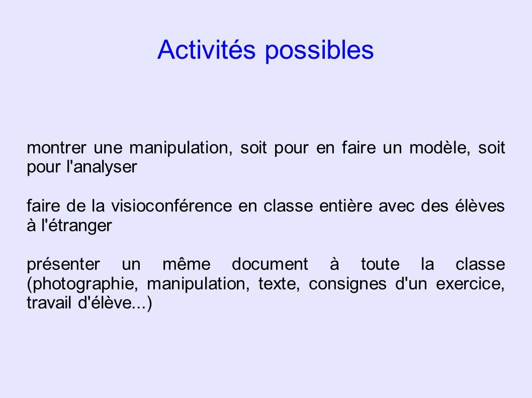 Activités possibles montrer une manipulation, soit pour en faire un modèle, soit pour l'analyser faire de la visioconférence en classe entière avec de