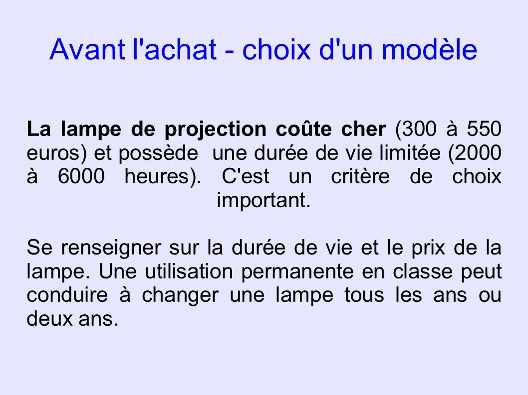 Avant l'achat - choix d'un modèle La lampe de projection coûte cher (300 à 550 euros) et possède une durée de vie limitée (2000 à 6000 heures). C'est