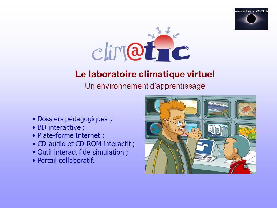 Le laboratoire climatique virtuel Un environnement dapprentissage Dossiers pédagogiques ; BD interactive ; Plate-forme Internet ; CD audio et CD-ROM i