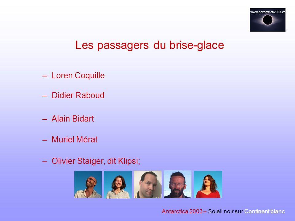 www.antarctica2003.ch –Didier Raboud –Alain Bidart –Muriel Mérat Les passagers du brise-glace –Olivier Staiger, dit Klipsi; –Loren Coquille Antarctica