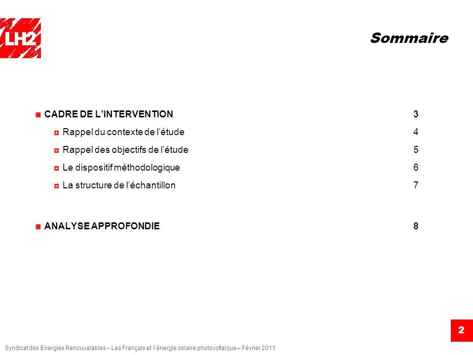 Syndicat des Energies Renouvelables – Les Français et lénergie solaire photovoltaïque – Février 2011 2 Sommaire CADRE DE LINTERVENTION3 Rappel du cont