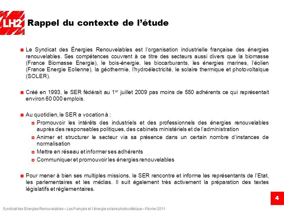 Syndicat des Energies Renouvelables – Les Français et lénergie solaire photovoltaïque – Février 2011 5 Rappel des objectifs de létude Cest dans ce contexte que le Syndicat des Énergies Renouvelables a mandaté linstitut LH2 pour réaliser une enquête auprès des Français de 18 ans et plus.