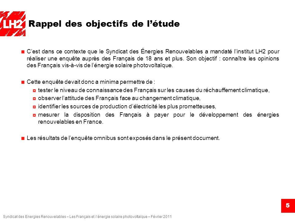 Syndicat des Energies Renouvelables – Les Français et lénergie solaire photovoltaïque – Février 2011 5 Rappel des objectifs de létude Cest dans ce con