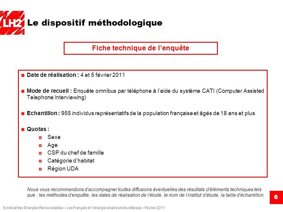 Syndicat des Energies Renouvelables – Les Français et lénergie solaire photovoltaïque – Février 2011 6 Le dispositif méthodologique Nous vous recomman