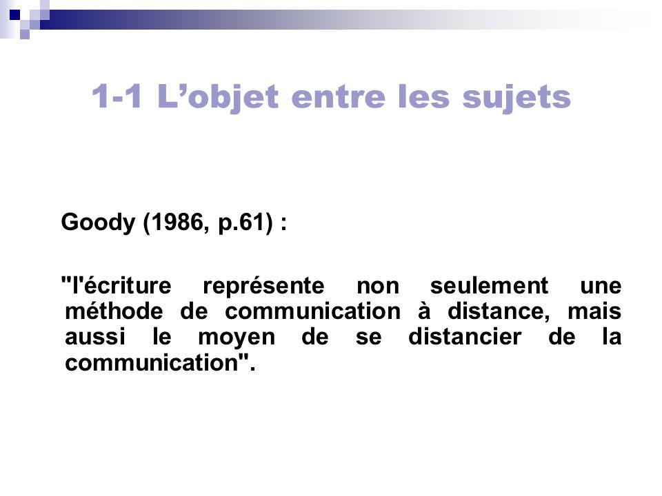1-1 Lobjet entre les sujets Goody (1986, p.61) :