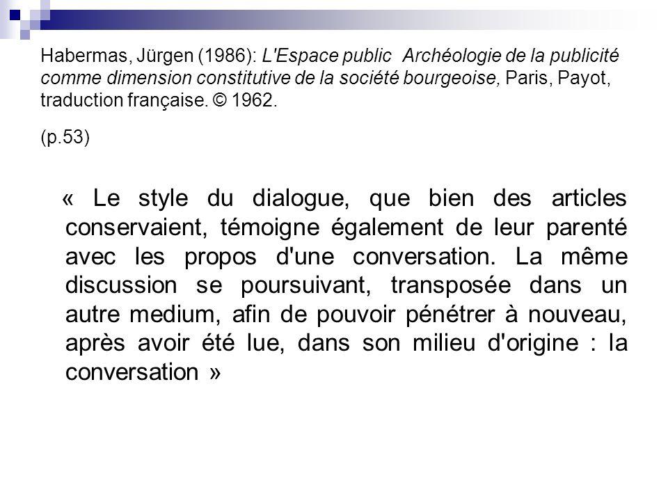 Habermas, Jürgen (1986): L'Espace public Archéologie de la publicité comme dimension constitutive de la société bourgeoise, Paris, Payot, traduction f