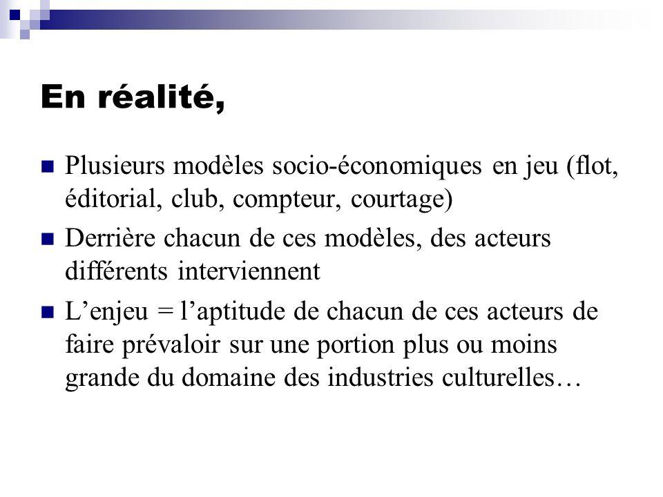 En réalité, Plusieurs modèles socio-économiques en jeu (flot, éditorial, club, compteur, courtage) Derrière chacun de ces modèles, des acteurs différe