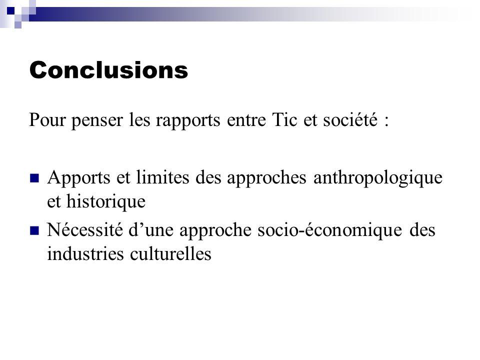 Conclusions Pour penser les rapports entre Tic et société : Apports et limites des approches anthropologique et historique Nécessité dune approche soc