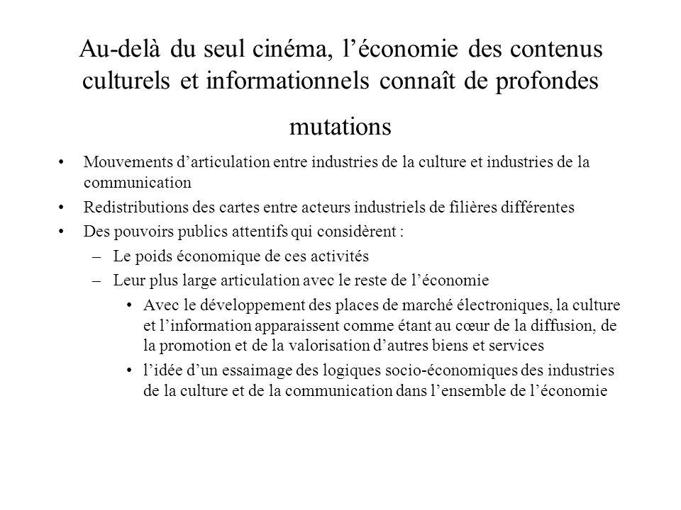Au-delà du seul cinéma, léconomie des contenus culturels et informationnels connaît de profondes mutations Mouvements darticulation entre industries d