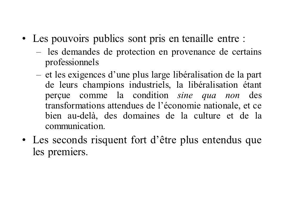 Les pouvoirs publics sont pris en tenaille entre : – les demandes de protection en provenance de certains professionnels –et les exigences dune plus l