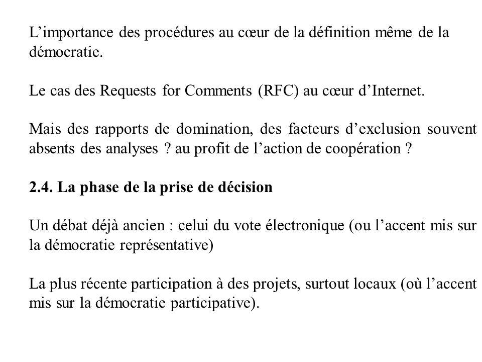 Limportance des procédures au cœur de la définition même de la démocratie. Le cas des Requests for Comments (RFC) au cœur dInternet. Mais des rapports