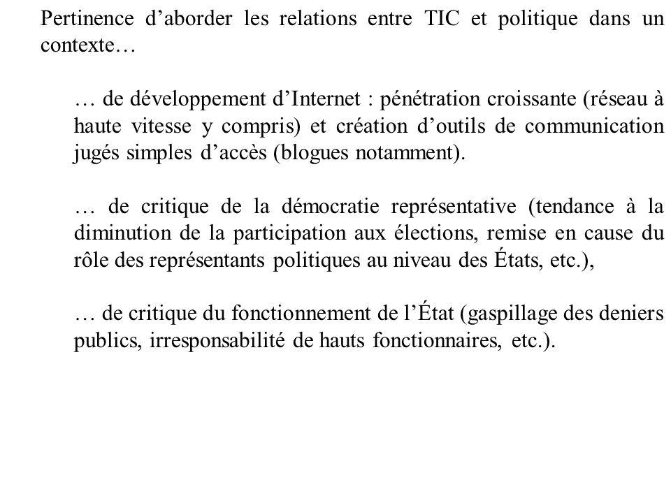 Pertinence daborder les relations entre TIC et politique dans un contexte… … de développement dInternet : pénétration croissante (réseau à haute vites